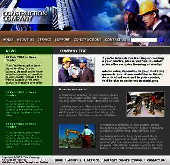 Construction web template info